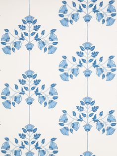 1086E Valentina II wallpaper in color S0530 Cobalt from Stroheim's Blue and White Wallcovering collection.