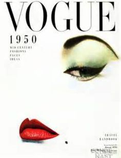 Vogue cover 1950, makeup, cat eye, red lipstick