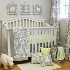 Gray baby bedding. Pretty. Switch out the yellow for pink or blue, both are great with grey.