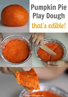 Pumpkin dough {You can eat it--recipe: Edible Pumpkin Pie Play Dough Recipe! Perfect fall fun for kids. Fall Preschool, Preschool Crafts, Kids Crafts, Preschool Ideas, Fall Toddler Crafts, Pumpkin Crafts Kids, Preschool Boards, Pumpkin Art, Toddler Halloween