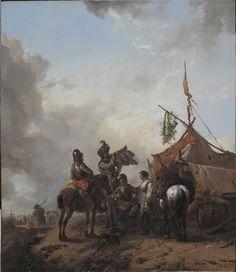 Philips Wouwerman - Soldaten brassen met een dienster voor een tent
