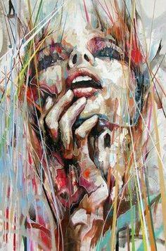 street art - Original Piece owned by Vicci Kaggan paintingmedia painting media drawings L'art Du Portrait, Abstract Portrait, Abstract Art, Portraits, Abstract Paintings, Arte Pop, Face Art, Amazing Art, Pop Art