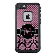 Pink glitter & black damask Pink Black Dots Name LifeProof FRĒ iPhone 6/6s Case - vintage gifts retro ideas cyo