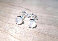 Conch Jewelry, Moonstone Jewelry, Ear Jewelry, Body Jewelry, Jewellery, Moon Earrings, Stud Earrings, Rainbow Moonstone, Studs
