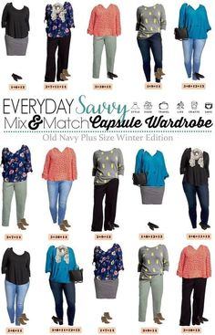 This Old Navy Plus Size Capsule Wardrobe is perfect for mix and match outfits for winter through spring. Love the pineapple sweater! via @everydaysavvy