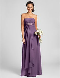 Lanting Bride Floor-length Chiffon Bridesmaid Dress Sheath / Column Strapless Plus Size / Petite withDraping / Crystal Brooch / Criss – CAD $ 97.29