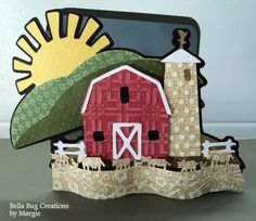 Crazy awesome shaped farm Cricut card (Country life cartridge)