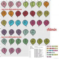Alfabeto punto croce bimbo con palloncini colorati - schemi punto croce gratis