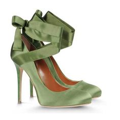 Alberta Ferretti Green Satin Ribbon Tie Pumps Liked On Polyvore Featuring Shoes