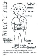"FREE Parts of a Letter Handout~  Pass this out and then have the students sing ""Head, Shoulders, Knees, and Toes"" but put in the words ""Heading, Greeting, Body, Closing, Signature.""  Great way for student to connect their own body parts with the parts of a friendly letter!"