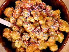 Honey Drenched Christmas Fritters: Struffoli Recipe : Mario Batali : Recipes : Food Network
