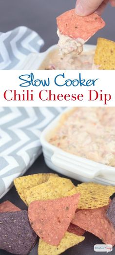 """This Slow Cooker Chili Cheese Dip is always the hit of the party! And it's so easy to make! Sometimes called """"white trash dip,"""" it's made with just three ingredients. Just dump them all into the Crock Pot, stir and heat!"""