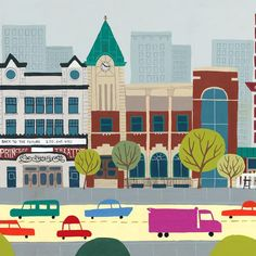 Whyte Ave, Edmonton Landmark art print, home decor  Edmonton landmark art print with a unique Mid-Century / Folk Art take. A perfect Edmonton gift idea for any city lover or that poor soul that is leaving town. Purchase on www.snowalligator.com  Illustration by local artist Jason Blower  #yeg #yegart #yegwallart #wallart #EdmontonArt #edmontongift #yeggift #snow_aligator #charmingart #cuteart #midCentury #Folkart #cuteart #charmingart #edmontonartist