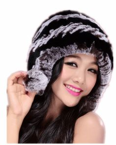 628ff446413 women autumn winter warm beanies with three fur pompom colors ear protector  hat with knitted rex rabbit fur