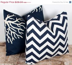 WINTER SALE Navy Zig Zag Pillow Cover. TWO 16x16 by LilyPillow, $23.80