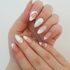 Polygel Bridal Nails /Wedding Nails /French Manicure/ Baby boomer/ swarovski crystals /stamping