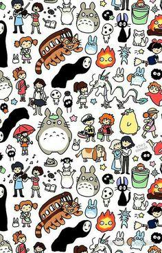 Wallpaper Iphone - Kawaii Ghibli Doodle - Wallpaper World Kawaii Doodles, Cute Doodles, Kawaii Wallpaper, Iphone Wallpaper, Japanese Wallpaper Iphone, Kawaii Background, Studio Ghibli Art, Ghibli Movies, My Neighbor Totoro