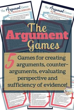 argument games for creating arguments, counter-arguments, evaluating evidence and reasoning. argument games for creating arguments, counter-arguments, evaluating evidence and reasoning. Argumentative Writing, Persuasive Writing, Teaching Writing, Teaching English, Teaching Literature, Teaching Tools, Teaching Themes, Teaching History, Writing Resources