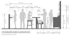 Designing a commercial bar layout? Theses design tips will ensure your commercial bar layout is comfortable, ergonomic, and atrractive for both your wait staff and customers. Bar Measurements, Bar Counter Design, Bar Dimensions, Bar Interior Design, Bar Plans, Home Bar Designs, Bar Furniture, Restaurant Design, Layout Design
