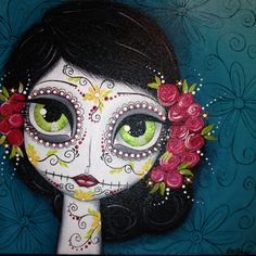 Lee Anne Washburn - inspired by Megan Suarez workshop Más Sugar Skull Art, Sugar Skulls, Halloween Painting, Day Of The Dead Art, Candy Skulls, Skull Painting, Christmas Embroidery, Mexican Art, Art Sketchbook