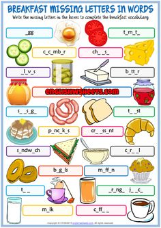 A fun missing letters in words printable ESL exercise worksheet for kids to study and practise food and drinks at the breakfast vocabulary. Look at the pictures and write the missing letters in words. Simple and useful for teaching and learning spelling. English Worksheets For Kindergarten, English Activities, Vocabulary Worksheets, Worksheets For Kids, English Vocabulary, Vocabulary Games, Teach English To Kids, Teaching English, Learn English