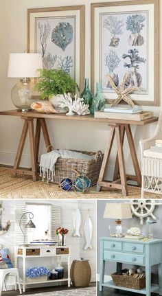 Shop coastal style console tables and learn how to style a console table coastal! Featured on Completely Coastal. Versatile console tables for coastal style living most with drawers and shelves to offer storage. A console table is a perfect spot to create Home Decor Styles, Home Decor Accessories, Decorative Accessories, Accessories Shop, Coastal Living Rooms, Living Room Decor, Coastal Cottage, Coastal Bedrooms, Cottage Living