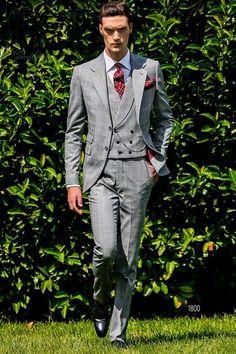 ONGala 1800 - Abito sposo Principe di Galles grigio Smoking Grigio c2ec73afa8e