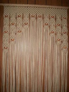 Private Listing for Rigbya Wood Beaded Arch Door Decor Curtain Made in Macrame With Tie-Backs