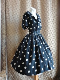 50s Dress // 50s Party Dress // Vintage 1950s Black with White Polka Dots Dress Size S. $198.00, via Etsy.