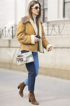 With a Light Brown Jacket and Brown Suede Boots