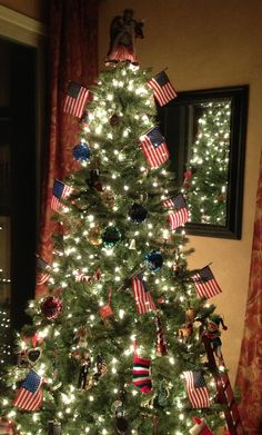 Patriotic Christmas Tree with a Liberty Angel on top