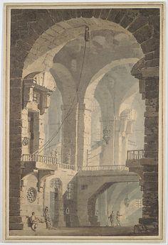 """""""Dark Prison (Carcere Oscura)"""", after Piranesi. Attributed to Joseph Mallord William Turner, c.1790."""