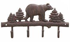 Bear Key Chain Holder Black Cabin Decor Key Rack Hunting Wall Art