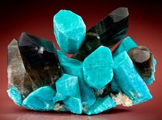 Stunning combination of Amazonite crystals with Smoky Quartz and Albite