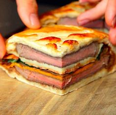 This 7 layer steak sandwich = win. I am definatly making this in the VERY near future. This seven layer steak sandwich might change your life Mega Sandwich, Beef Recipes, Cooking Recipes, Italian Recipes, Steak Sandwich Recipes, Steak Sandwiches, Sandwich Ingredients, Tasty, Gourmet