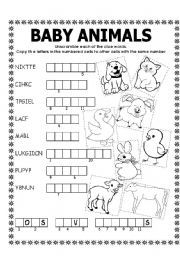 English teaching worksheets: Baby animals