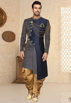 mens_fashion - Embroidered Art Silk Asymmetric Sherwani in Navy Blue Sherwani For Men Wedding, Wedding Dresses Men Indian, Sherwani Groom, Wedding Dress Men, Foto Wedding, Wedding Outfits, Wedding Attire, Blue Wedding, Summer Wedding