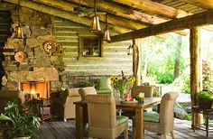 love how the rustic look continues onto the porch - beautiful and very inviting...  Walt Landi Signature Homes