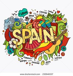 Spain hand lettering and doodles elements background. Vector illustration