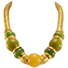 Highly Collectible, Super Stylish Vintage Bakelite and Brass Necklace #rubylane  #bakelite