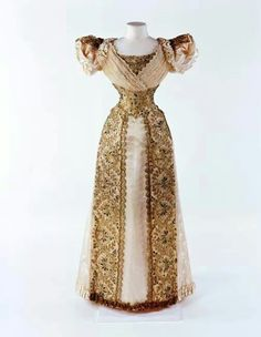 1893 evening dress with gold net gold embroidery and beetle wings