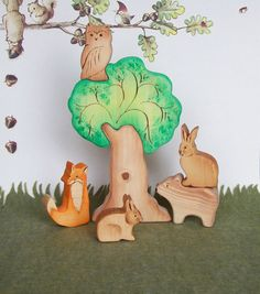 Waldorf Inspired Wooden Nature Toys  Forest by CeadarHillHeirlooms, $39.85