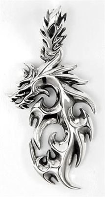 Flaming Dragon Tattoo Silver Pendant. Solid .925 sterling silver mens pendant.
