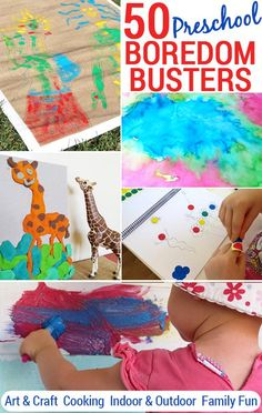 50 Preschool Boredom Busters + Printable Play Planner: Ideas for art & craft, cooking, indoor and outdoor play, outings and family fun.