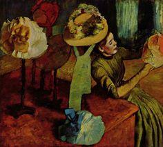 Edgar Germain Hilaire Degas.  Das Modewarengeschäft (Bei der Putzmacherin). 1885, Öl auf Leinwand, 99 × 109 cm. Chicago, Art Institute. Frankreich. Impressionismus.  KO 01269