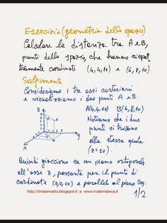 Matematica e dintorni. Esercizi svolti(GRATIS) e oltre. Math Education on line.: Esercizio svolto di geometria dello spazio(distanz...