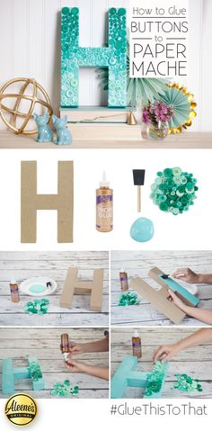 How to Glue Buttons to Paper Maché: Ombre Button Letter | iLoveToCreate