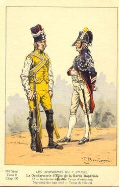 French; Imperial Guard, Gendarmes d'Elite, Gendarme Tenue d'Instruction & Marechal des Logis, Summer Tenue de Ville