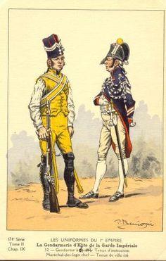 French; Imperial Guard, Gendarmes d'Elite, Gendarme Tenue d'Instruction & Marechal des Logis, Summer Tenue de Ville