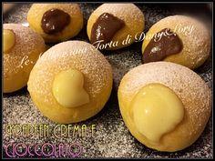 Ho preparato questi golosissimi bomboloni ripieni con crema e cioccolato. Una vera bontà! Ingredienti per circa 20 krapfen piccoli: 150g lievito madre rinf